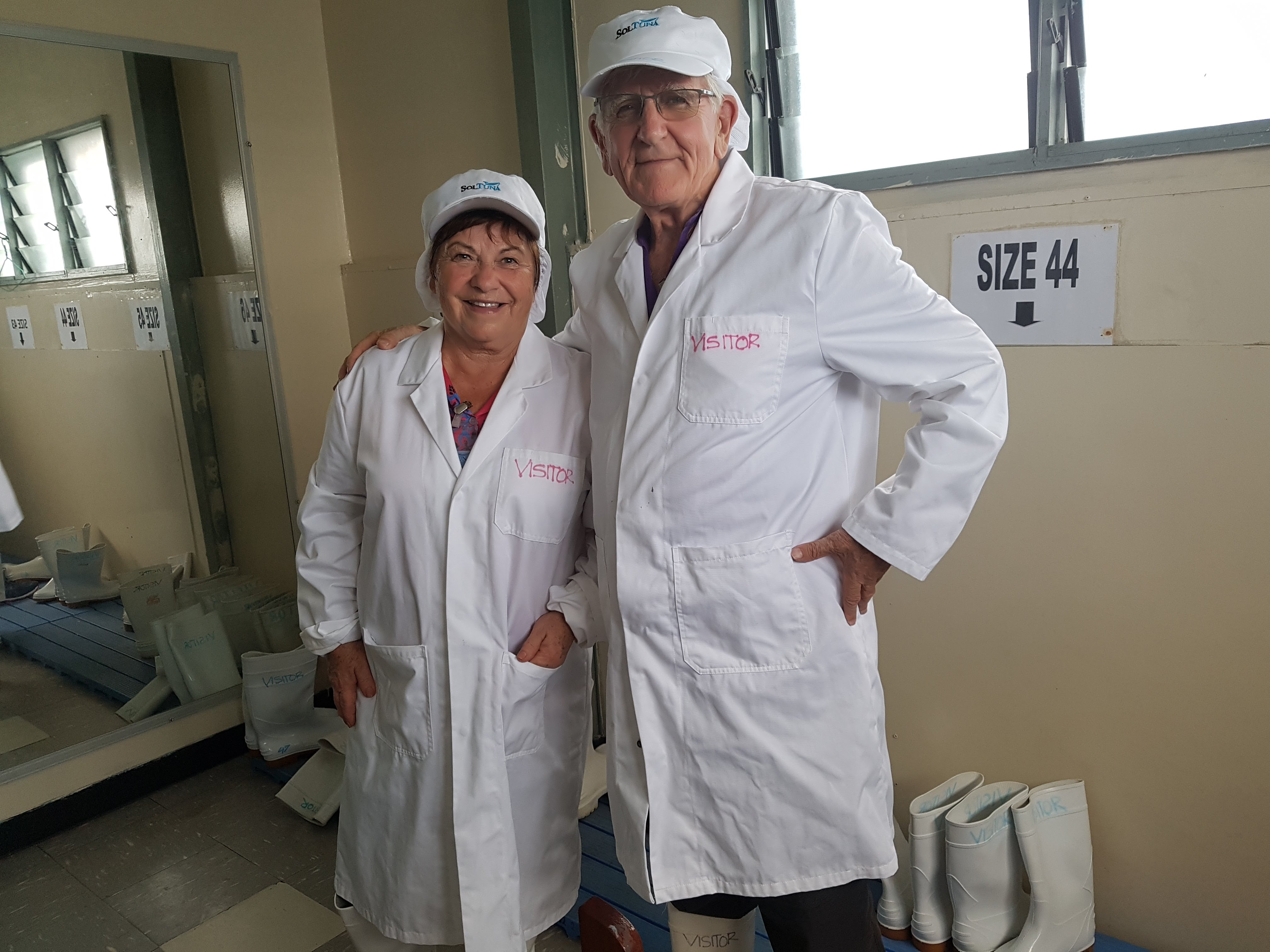 Vera and Tony ready to inspect Soltuna factory