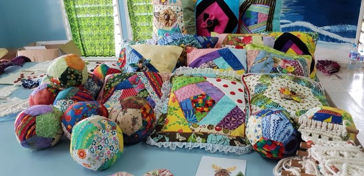 Crazy Patchwork cushions an Soft Balls made by the Craft Class