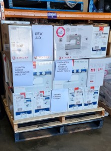 Pallet for 29 new sewing machines being shipped to Kiribati